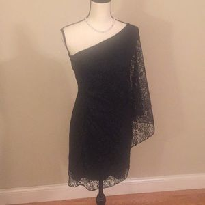 Hailey one shoulder black lace dress size 4